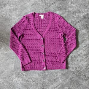 DKNY Loose open knit button up Cardigan crocheted